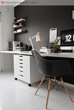 Arbeitszimmer wandgestaltung  Schwarze Wand oder alternativ Tafellack verwenden & die Wand ...