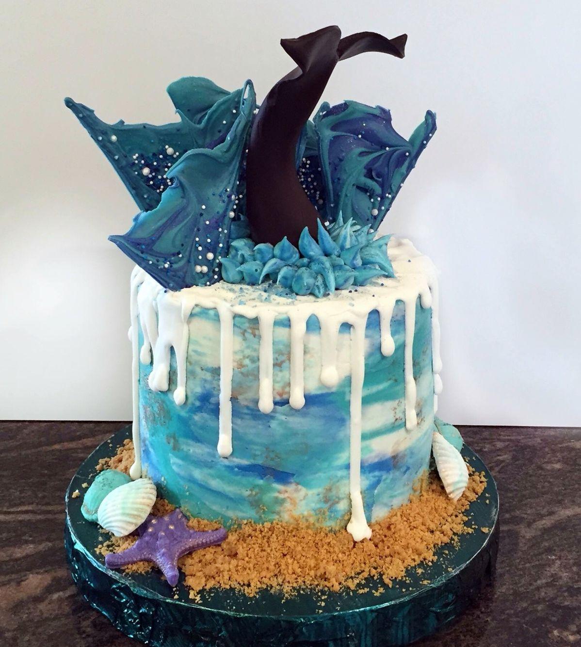 Whale Theme Drip Cake Wminspiration In 2019 Cake