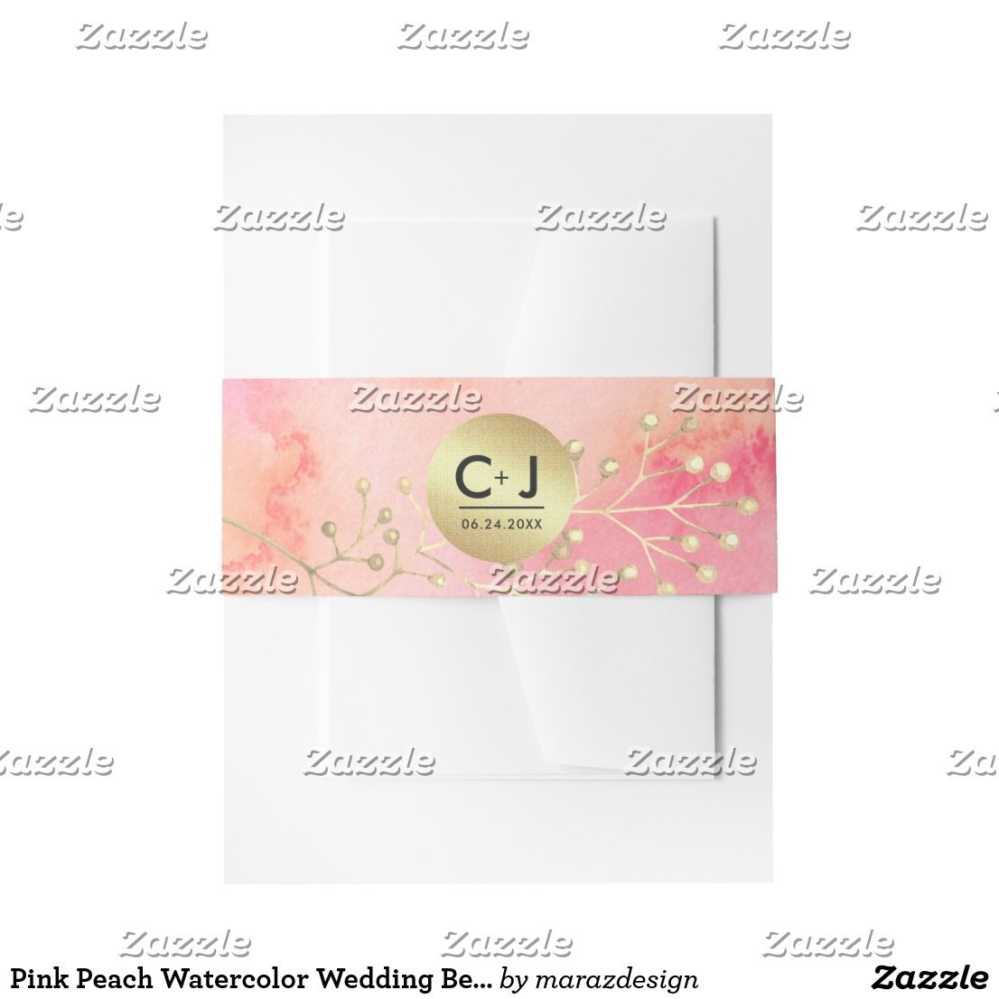 Pink Peach Watercolor Wedding Belly Bands Invitation Belly Band