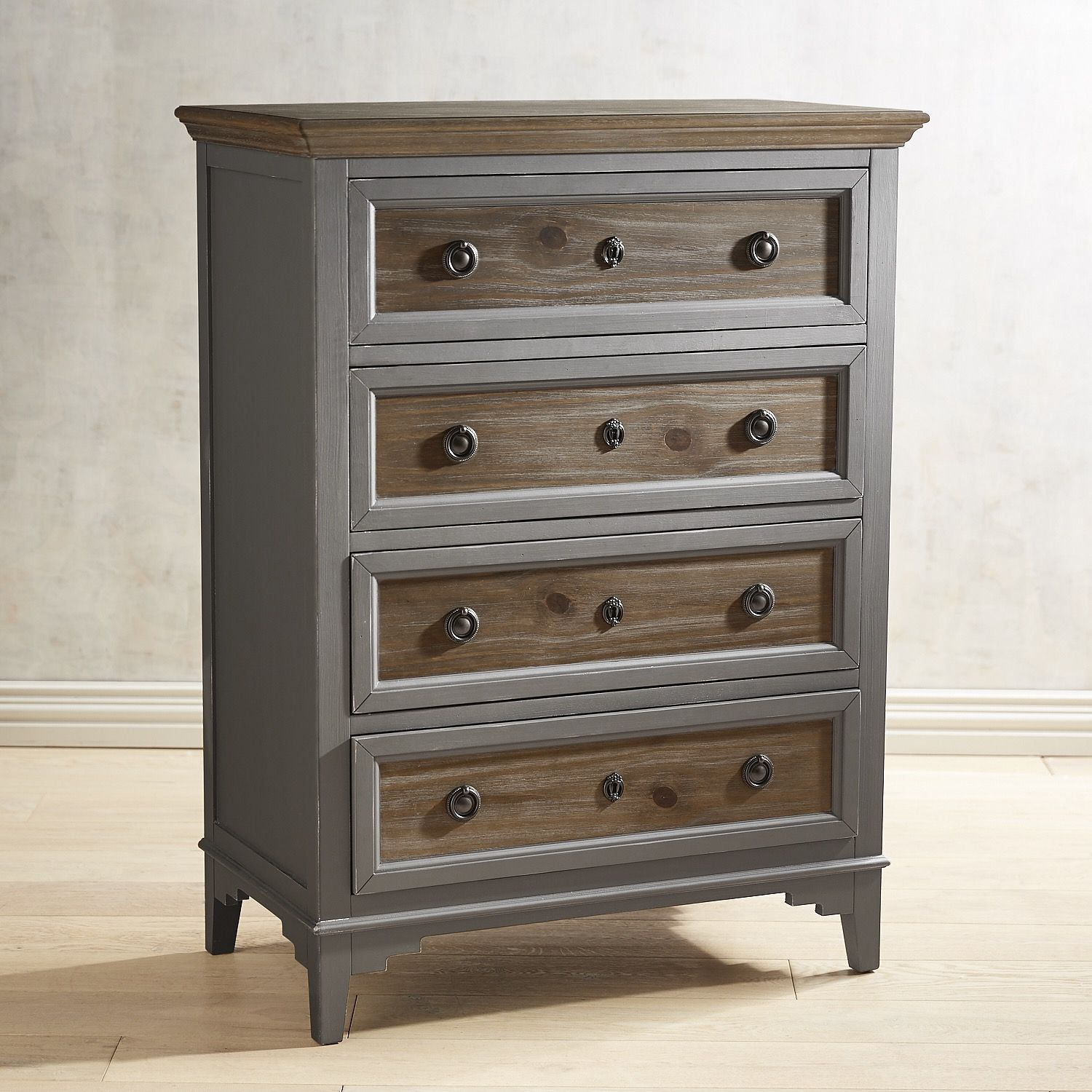 Best Weston Weathered Oak 4 Drawer Chest Gray Painted 400 x 300