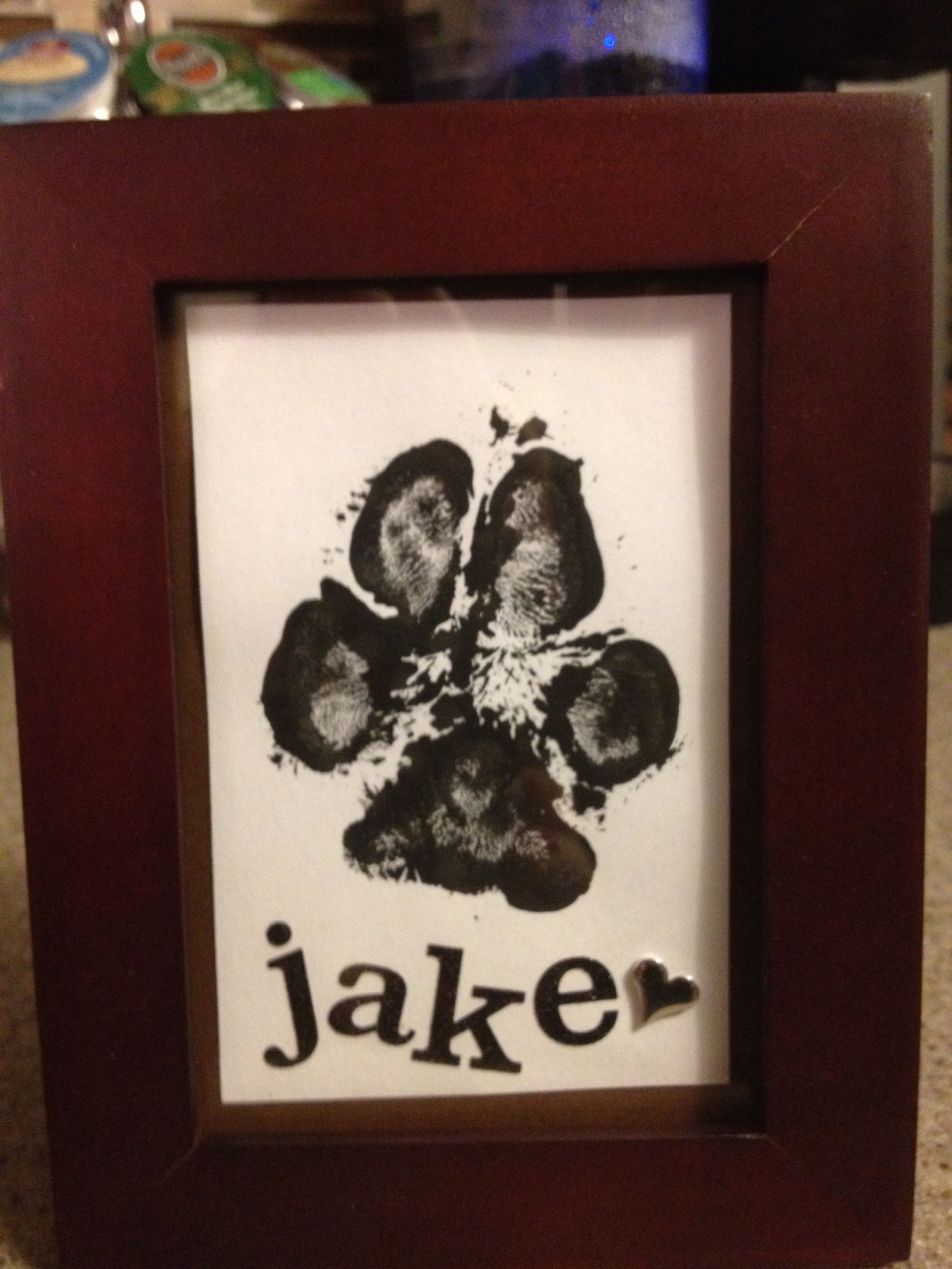 Dog Paw Print / Would be better in a two picture frame so you could ...