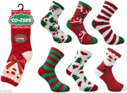 8.05$  Buy here - http://viaod.justgood.pw/vig/item.php?t=9wgg8lc2282 - Co-Zees Femmes Chaussettes De Noël Duveteux Lit Sommeil Chausettes Cadeau Santa 8.05$