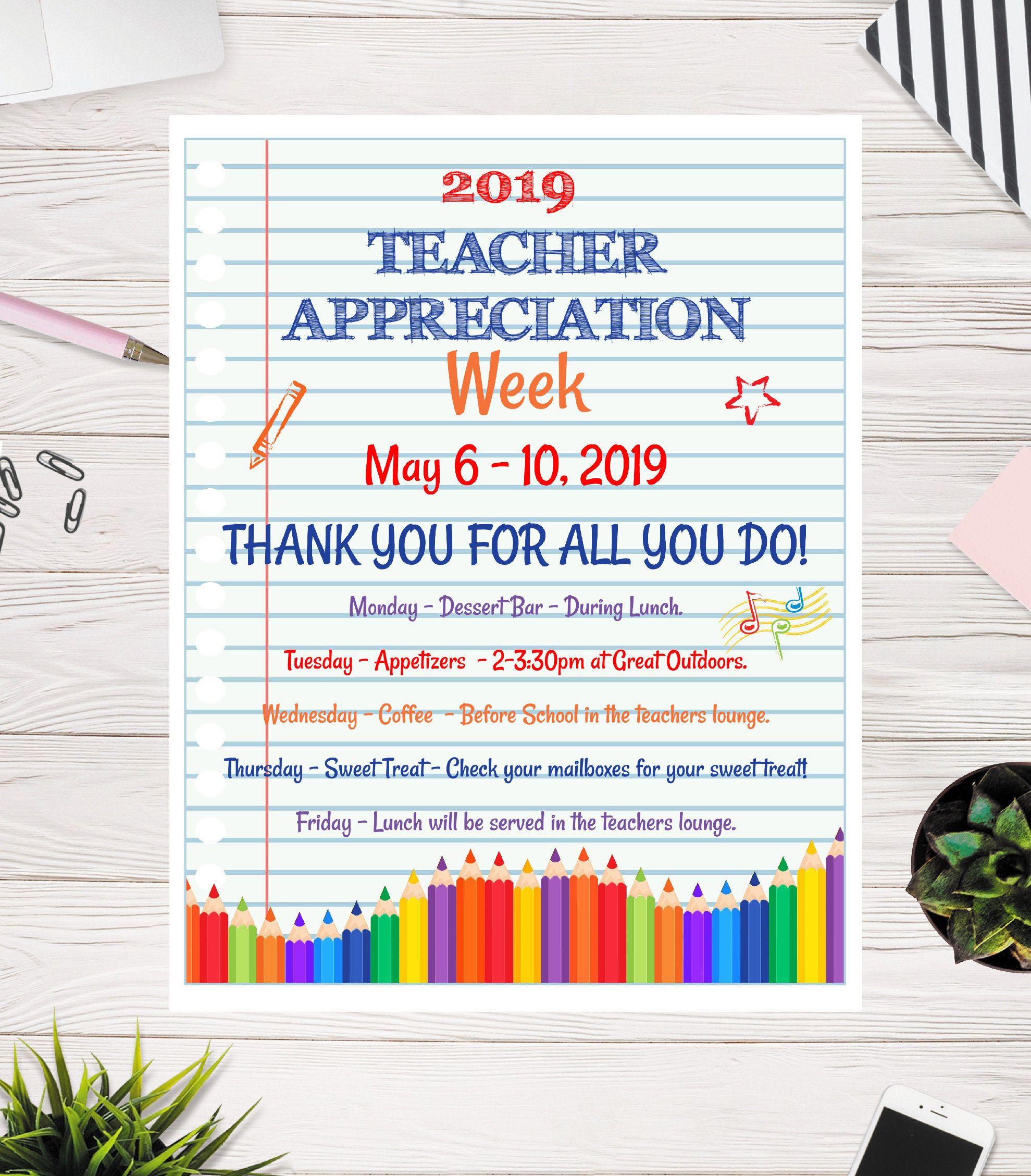 Teacher Appreciation Week Flyer Notebook Elementary Teacher Etsy In 2021 Teacher Appreciation Week Teacher Appreciation Week Poster Teacher Appreciation