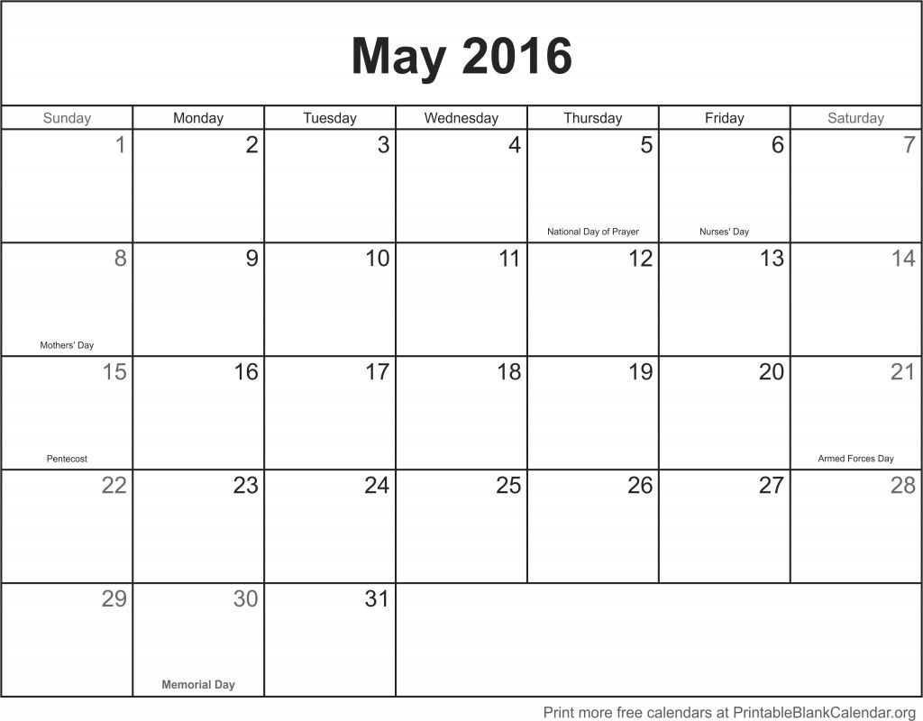 May  Printable Calendar Template  May  Printable Calendar