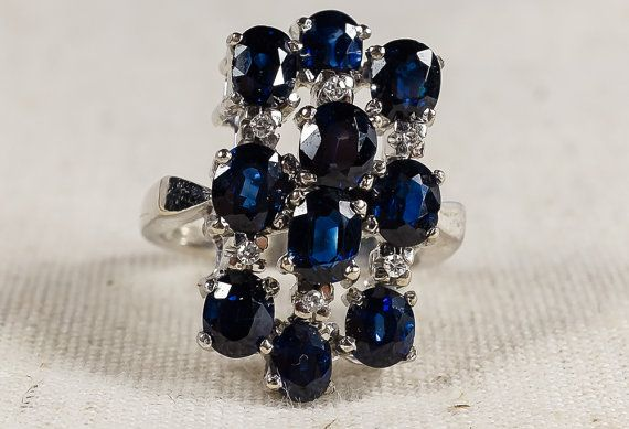 Vintage Unique Large 18K White Gold 3.50ctw Sapphire and Diamond Statement Ring by OaksJewelryBoutique