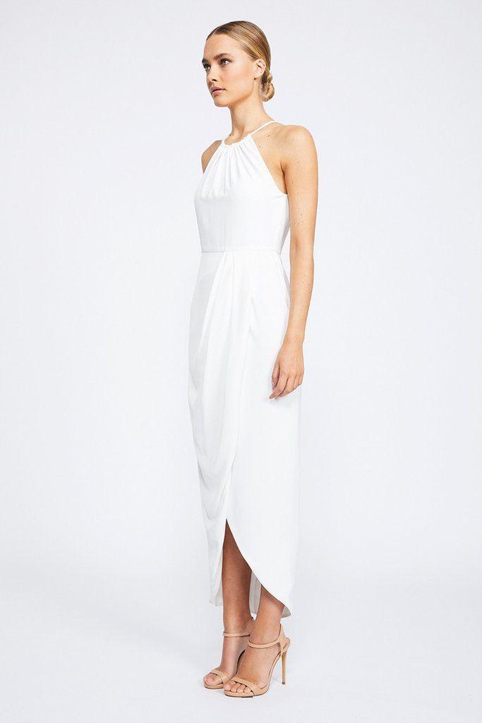 1de716ba1cd CORE HIGH NECK RUCHED DRESS - IVORY