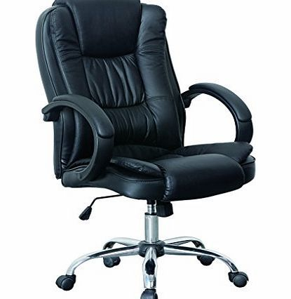 Leather · HNNHOME High Back Luxury 360 Degree Swivel Leather Executive  Office Furnitue Computer Desk Seat ...