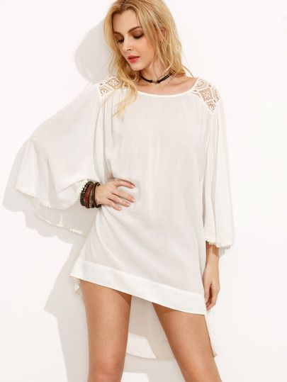 White High Low Shift Dress
