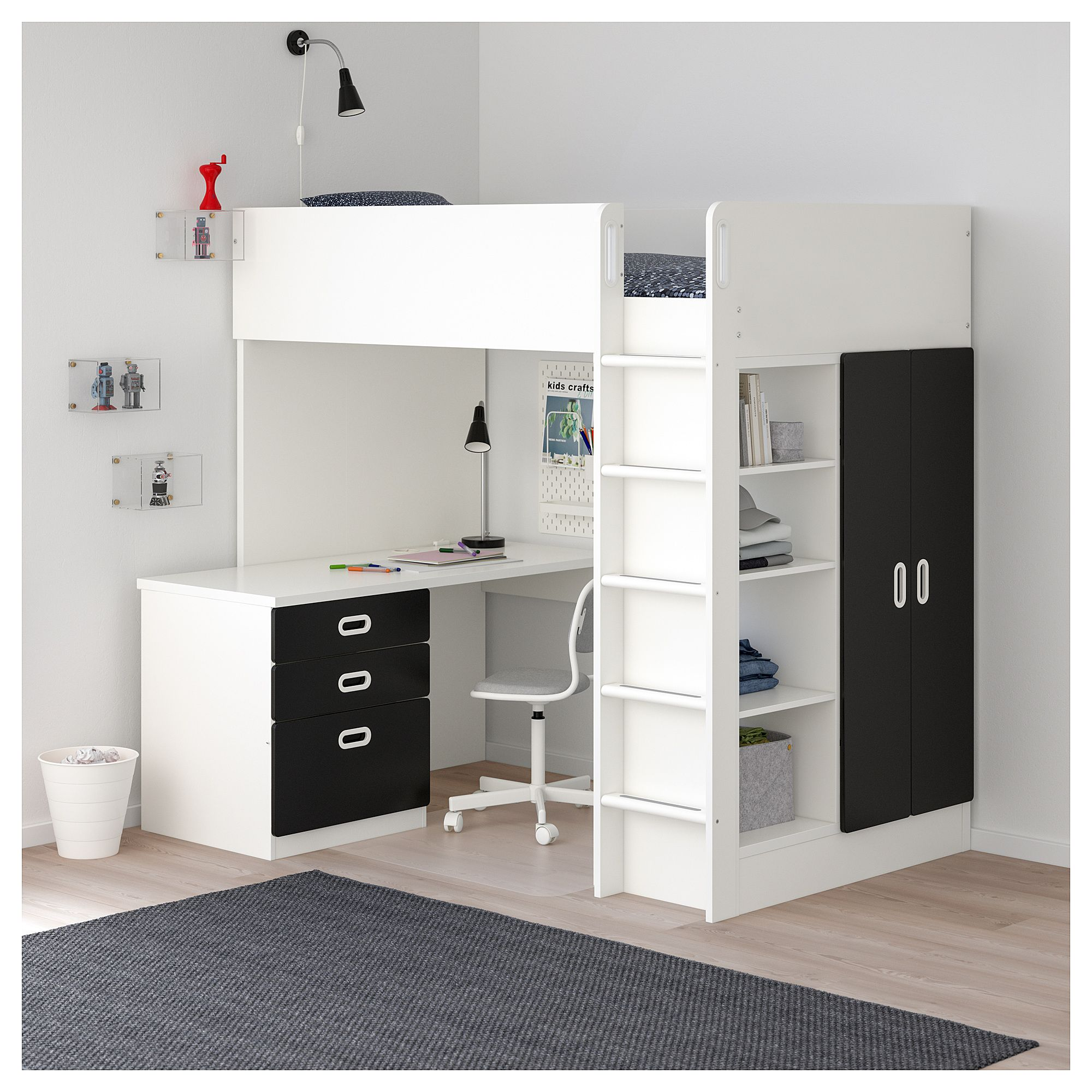 Grey loft bed with desk  IKEA  STUVA  FRITIDS Loft bed with  drawers doors white