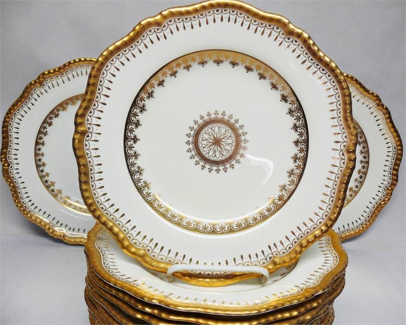 12 Copeland Gold Gadroon Dinner Plates with Compass Rose