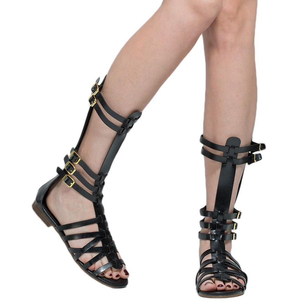 79f49a5c1493 Womens Flat Sandals Mid Calf Multi-Strap Buckles Cage Gladiator Shoes Black  fashion style outfit footwear shopping