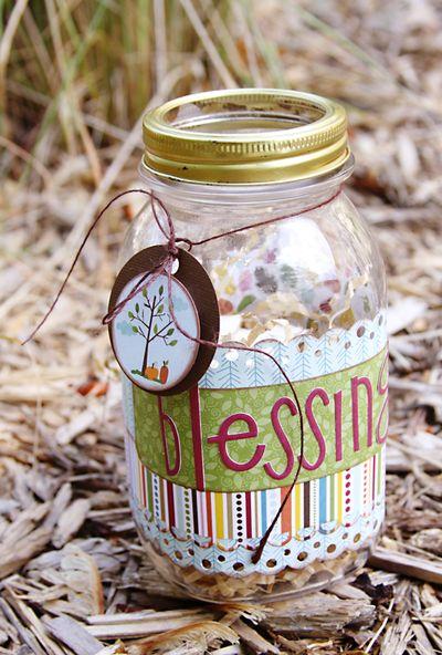 Blessing Jar Supplies Needed Jars Scrap Book Paper Adhesive Yarn Embellishments Blessings Jar Gratitude Jar Prayer Jar