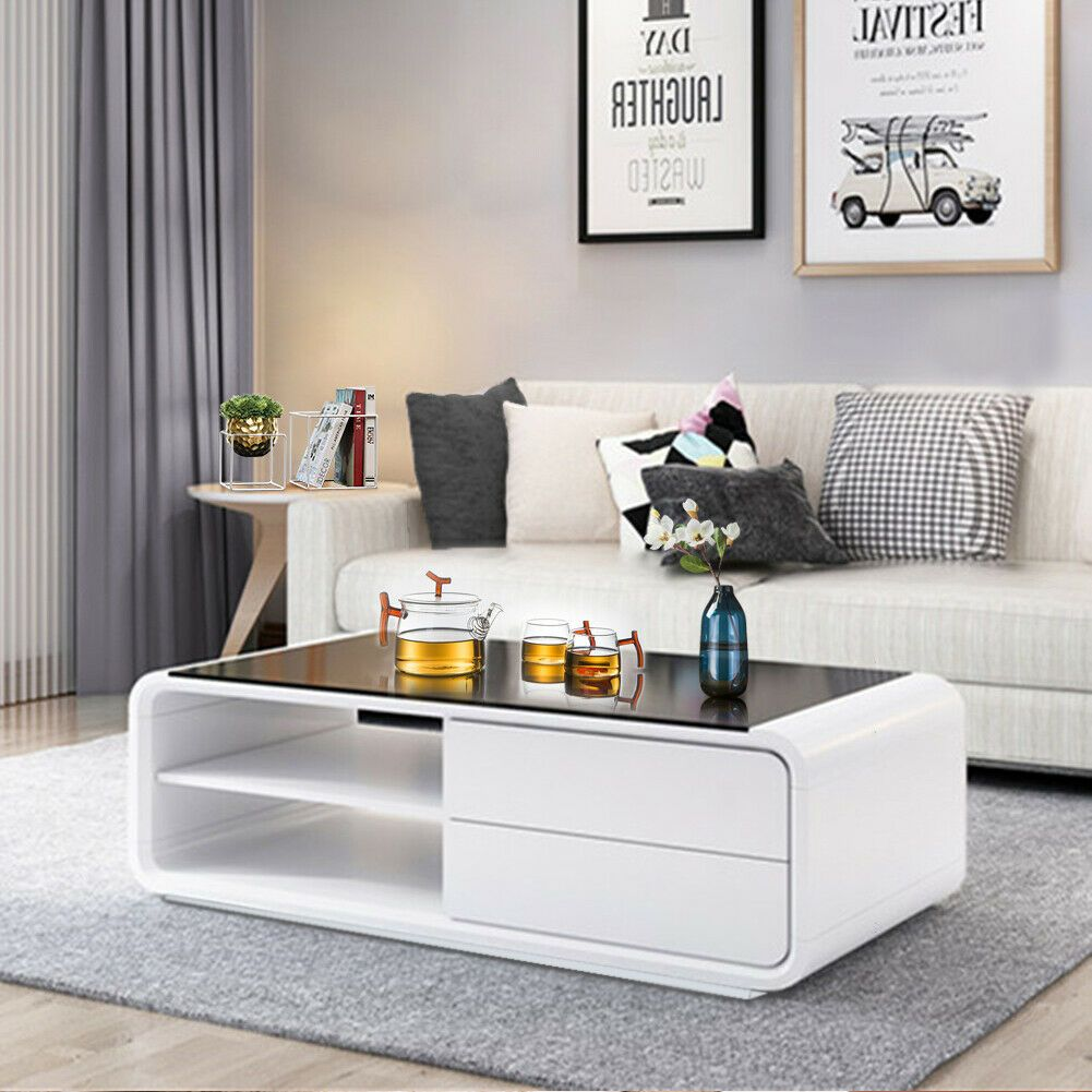White Glass Coffee Table High Gloss Mdf 2 Storage Drawers Living Room Furniture For Sale Online Ebay Center Table Living Room Centre Table Living Room Table Decor Living Room [ 1001 x 1001 Pixel ]