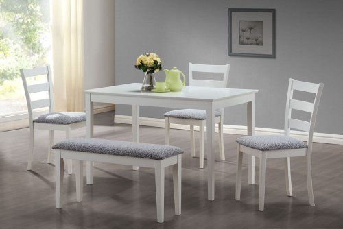 White 5Pcs Dining Set With A Bench And 3 Side Chairs by Monarch by