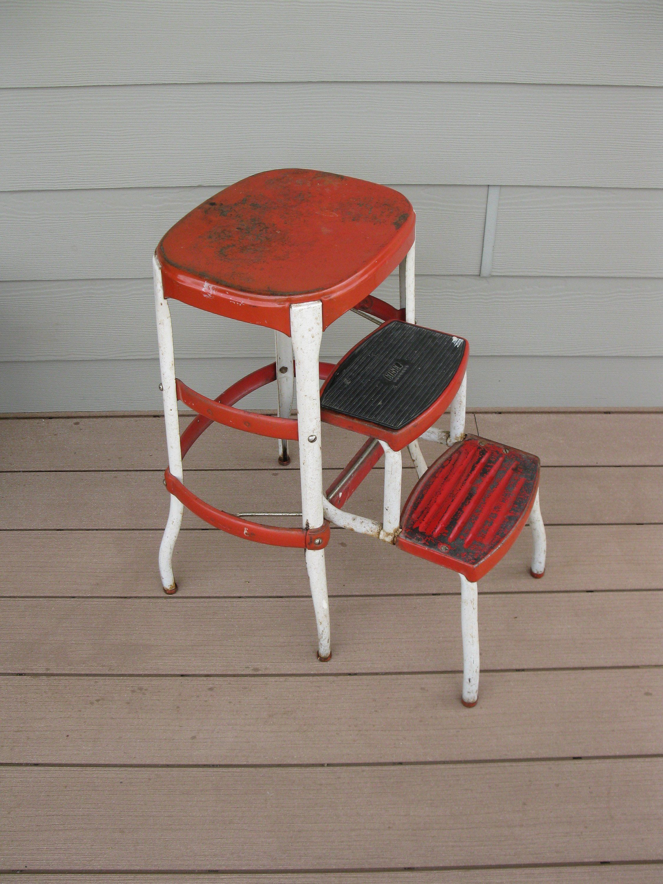Pleasant Shabby Metal Cosco Stool Chair Red Childs Stool Step Squirreltailoven Fun Painted Chair Ideas Images Squirreltailovenorg