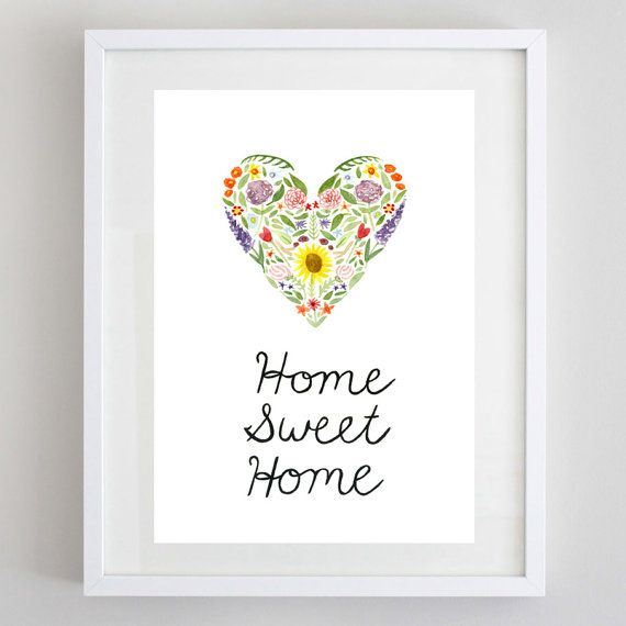 Home Sweet Home Watercolor Print  Home Wall Decor por BeWildandFree