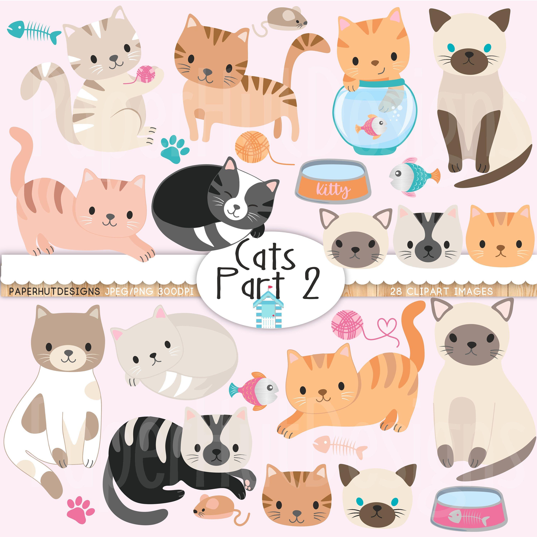 Cat Clipart Cute Kitten Clipart Cat Clip Art Kitties Etsy Cat Clipart Clip Art Kittens Cutest