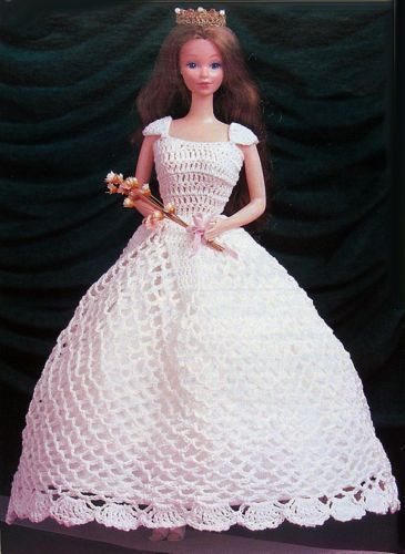 Crochet Pattern Only Barbie Ball Gown Crown Fashion Doll Queen
