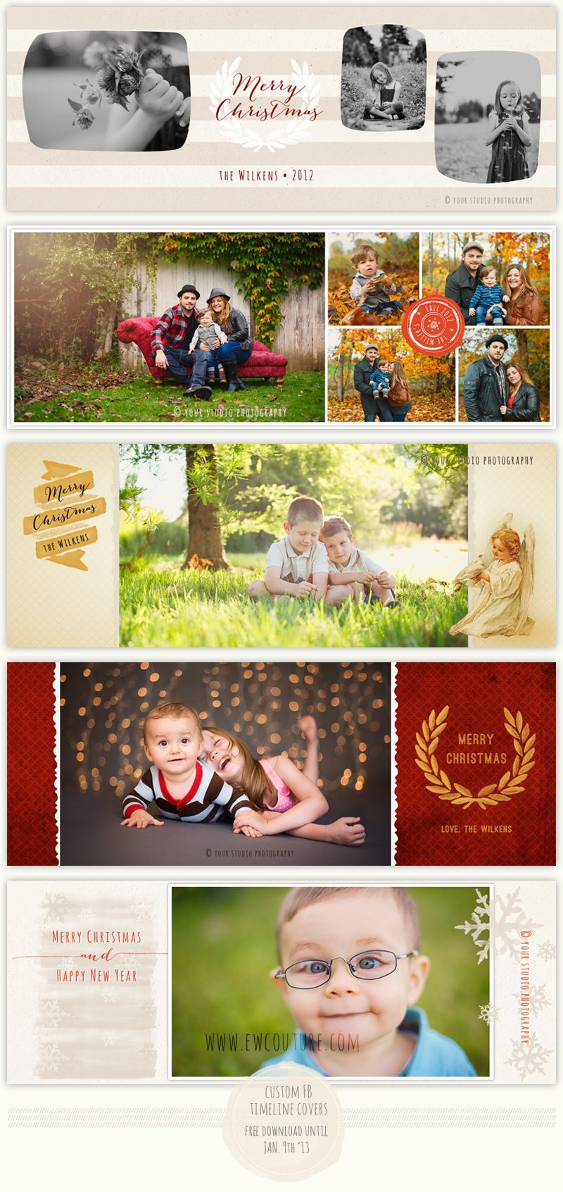 Free Custom Christmas Timeline Covers - December 2012 - EW Couture Monthly Downloads - Photographer Photoshop Templates and Marketing Materials, download expires 9 Jan. 2013
