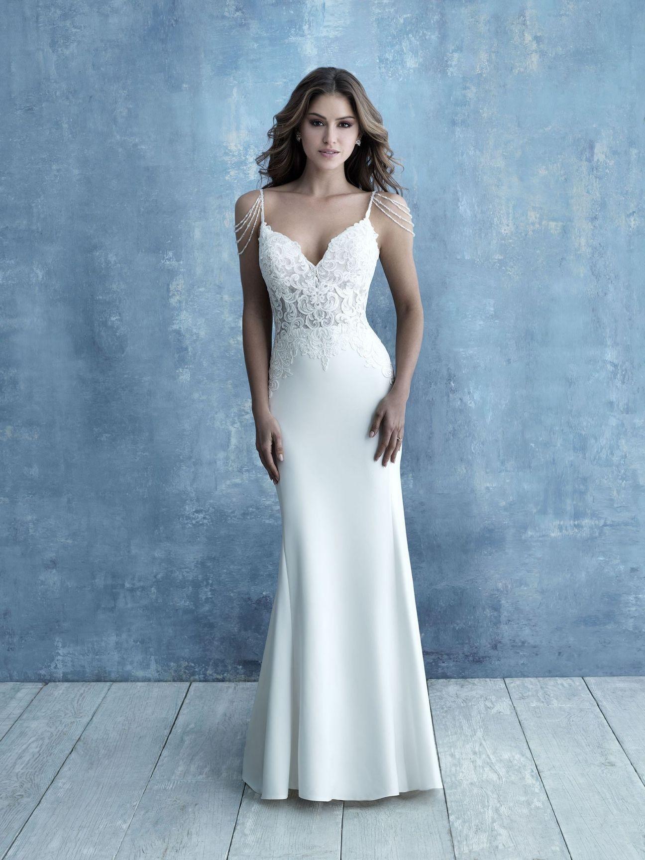 Allure Bridals 9683 Sheath Crepe Dress Allure bridal