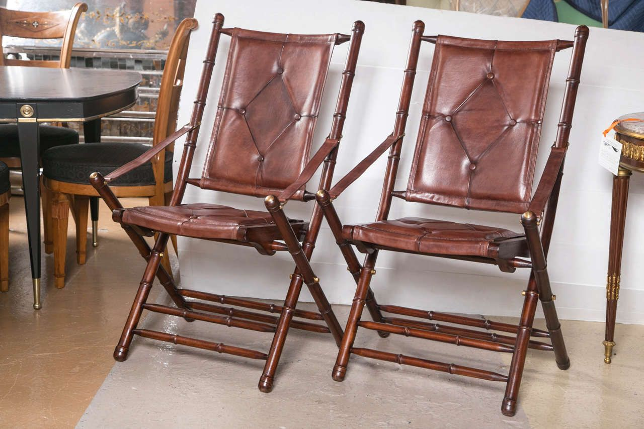 Folding chairsSet of Twenty Leather Bamboo Style Folding Chairs   Folding chairs. Decorative Folding Chairs. Home Design Ideas