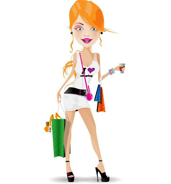 Lady Cartoon Characters : Cartoon girl female characters shopping vector