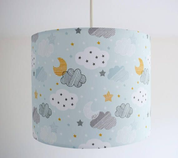 A Stunning Blue Cloud Lampshade In Subtle With Moon Stars And Clouds This Would Look Beautiful Your Childs Nursery Suit Any