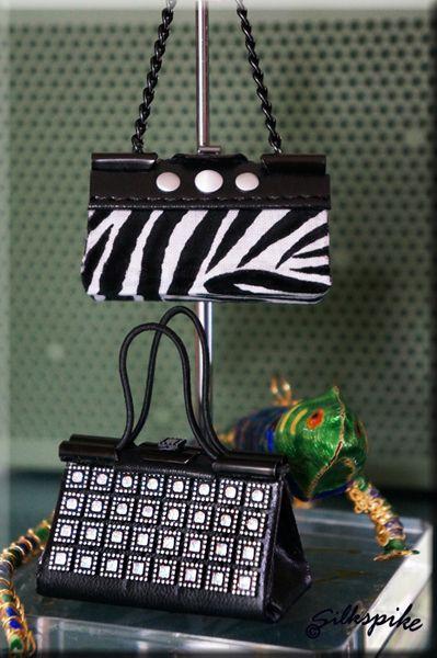 Make a miniature handbag from a binder/bulldog clip. Tutorial and patterns are courtesy of Silkspike Dolls.