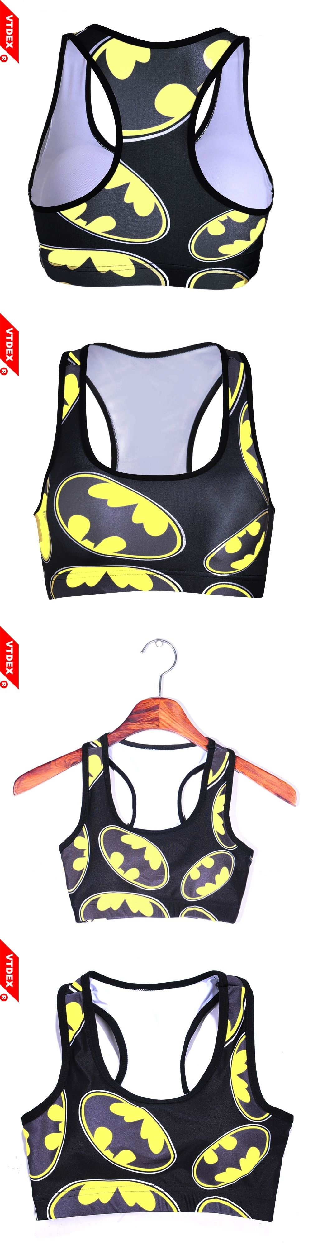 edd3bcaa8d 2017 Breathable Batman Bra Sujetador Deportivo Cropped Women Sports Gym  Sexy Push Up For Shakeproof Fitness