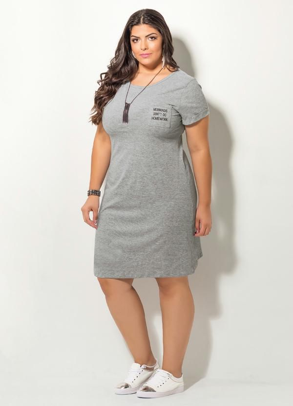 Vestido Com Bordado Quintess Mescla Plus Size Plus Size