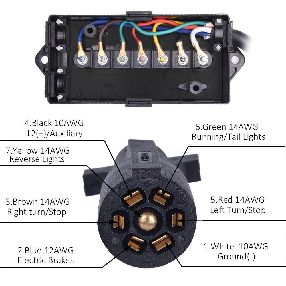 Amazon Com Mictuning Heavy Duty 7 Way Plug Inline Trailer Cord With 7 Gang Junction Box 8 Feet Automotive Trailer Diy Trailer Led Light Bars