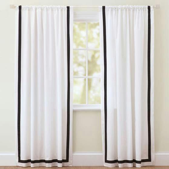 White curtains, black border   blush, black, grey   Pinterest   Room