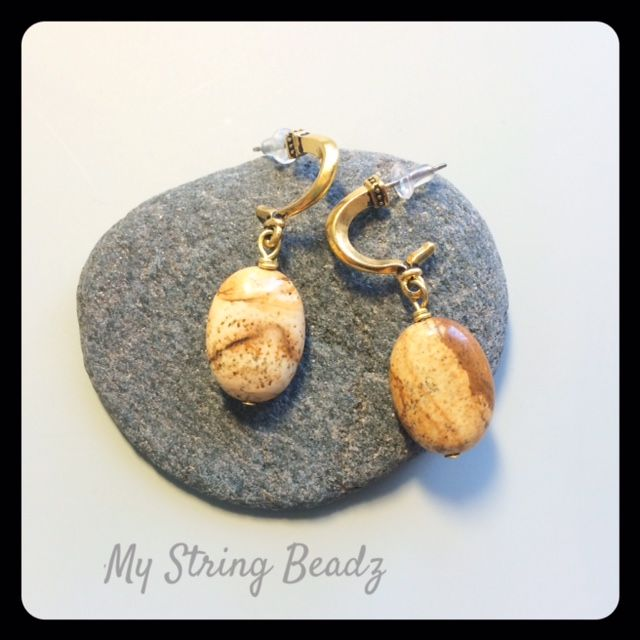 Picture This...gorgeous Picture Jasper is combined with hoop posts in these lovely earrings, perfect for all occasions!.