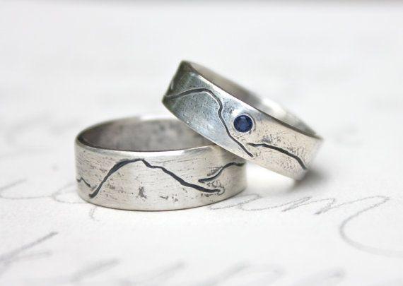 Unisex Rustic Mountain Wedding Band Ring Set Personalized Etsy In 2021 Alternative Wedding Rings Wedding Ring Bands Titanium Wedding Rings