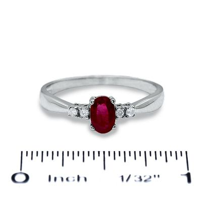 Oval Ruby Ring In 10k White Gold With Diamond Accents Zales Pretty Rings Engagement Ring Pictures Jewelry Stores