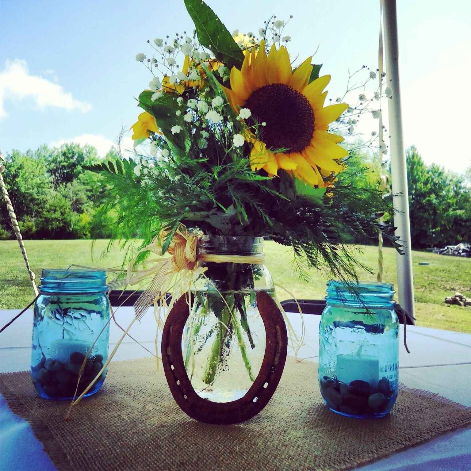Cowgirl Wedding Ideas: Country Reception With Sunflowers, Horse Shoes, And Mason