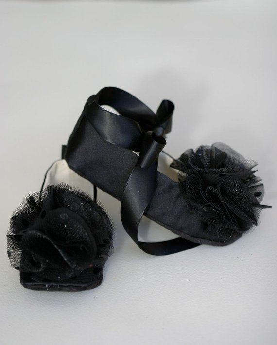 a938965484f Black Satin Baby Shoes