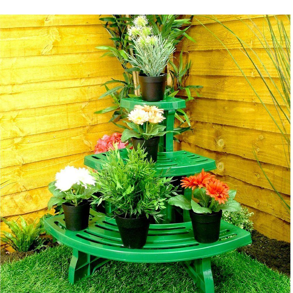 Plastic Plant Stand Indoor Tiered Plants Stands Flower Etagere Pot Garden Decor in Garden & Patio, Garden Ornaments, Plant Stands   eBay