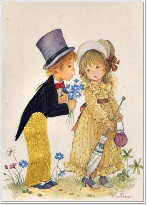 Открытки мальчик дарит цветы