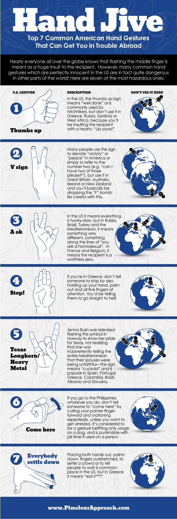 Top 7 American hand gestures that can get you into trouble abroad.