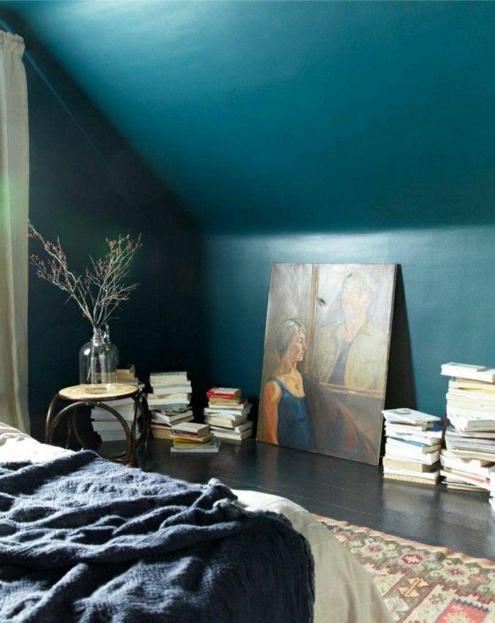 wandfarbe petrol dachschräge dekoideen Interieur Pinterest - wandfarbe petrol