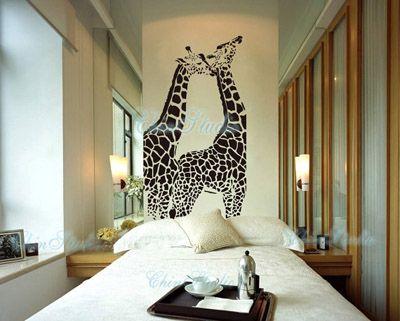 Dormitorio.  Vinilo de jirafas
