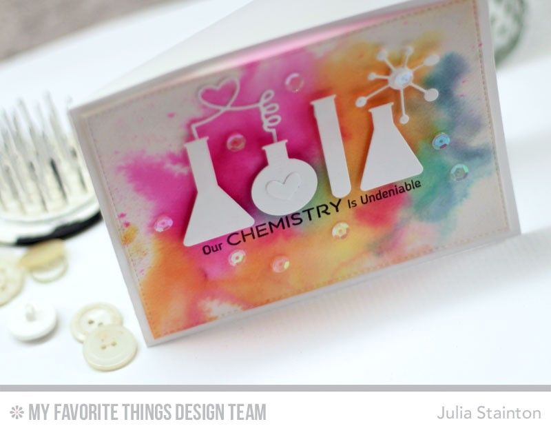 Chemistry Love Watercolor Valentine Card by Julia Stainton  Cards