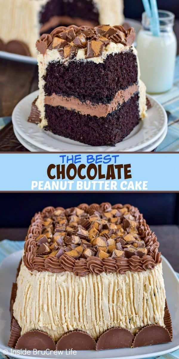 Best Chocolate Peanut Butter Cake - soft homemade chocolate cake with chocolate and peanut butter frosting is perfect for chocolate lovers. Make this easy recipe for parties and events! #cake #chocolate #homemade #peanutbuttercups #peanutbutterfrosting #chocolatefrosting