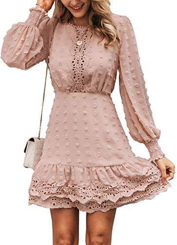 Best Seller Miessial Women's Summer V Neck Chiffon Ruffle Mini Dress Elegant Tie Waist Short Sundress online #shortsundress