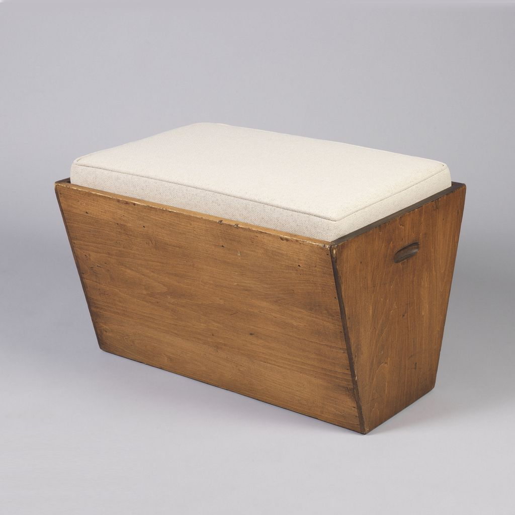Usonian stool wood fabric frank lloyd wright furniture