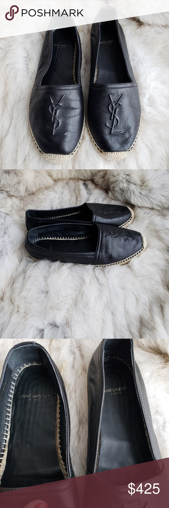 46707e9aa YSL Black Leather Logo Espadrille Loafer 37.5 YSL ESPADRILLE flats size  37.5 These are in excellent used condition. No box or bag. No returns. Yves  Saint ...