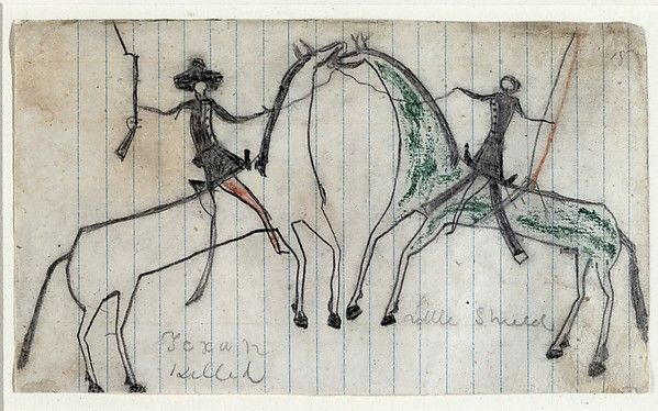 "Little Shield. Drawings of Exploits in Battle, before 1868. St. Louis Mercantile Library, University of Missouri - St. Louis (1890.010) | This work is featured in our ""Plains Indians: Artists of Earth and Sky"" exhibition on view through May 10, 2015. #PlainsIndians #horses"
