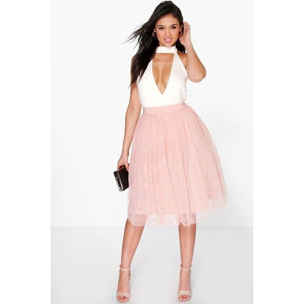 1b2e0357e2 Boohoo Boutique Boutique Giselle Floral Tulle Full Skater Skirt (58 CAD) ❤  liked on Polyvore featuring skirts