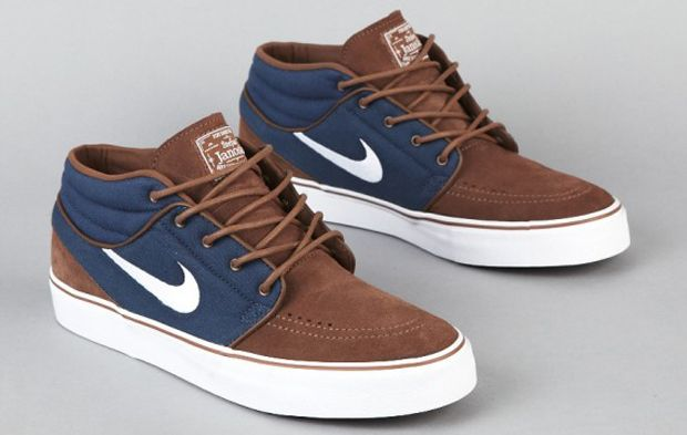 Nike SB Zoom Stefan Janoski Mid Skate Shoes Black/gym red/gum medium brown T54x7014Nike Mens